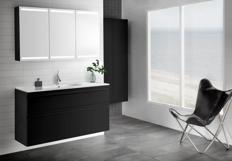 INZO 64 møbelsett m/integrerte grep 120 cm m/ Kantate servant i sort matt. Speilskap 120 cm med 3 sorte matte dører