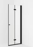 VikingBad dusjdør leddet Liam 90cm, H sort matt/klart glass