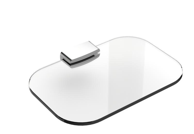 White Med Klart Glass og Forkrommet 25x15