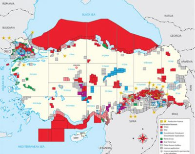Turkey Exploration and Production Activities Map