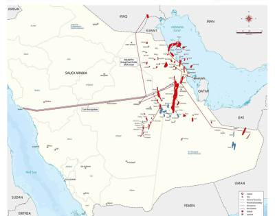 Saudi Arabia's Onshore and Offshore Fields and Pipelines Map