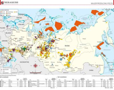 Major Producing Fields in Russia Map