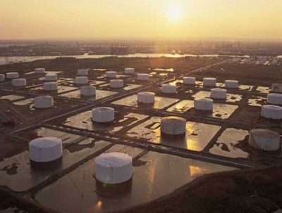 US crude oil storage tank