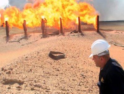 Lybia Oil Fields - Burning