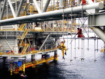 An offshore oil rig in Australia