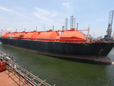 The Gimi FLNG vessel is being converted from the LNG tanker Hilli.