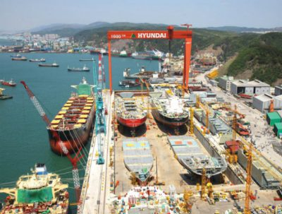 Manufacturing facilities of Hyundai Heavy Industries in Ulsan, South Korea