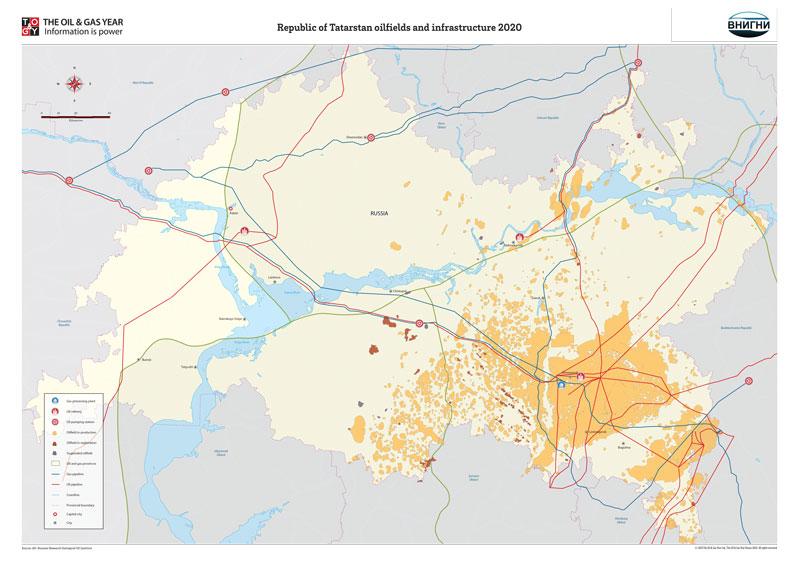 Republic of Tatarstan oilfields and infrastructure 2020