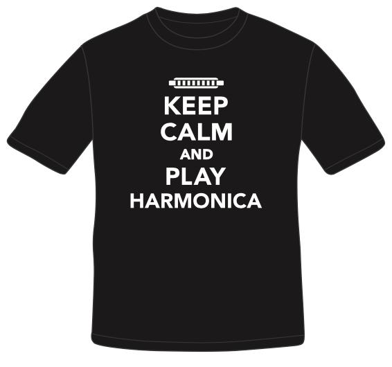 Image of Black Keep Calm and Play Harmonica T-shirt