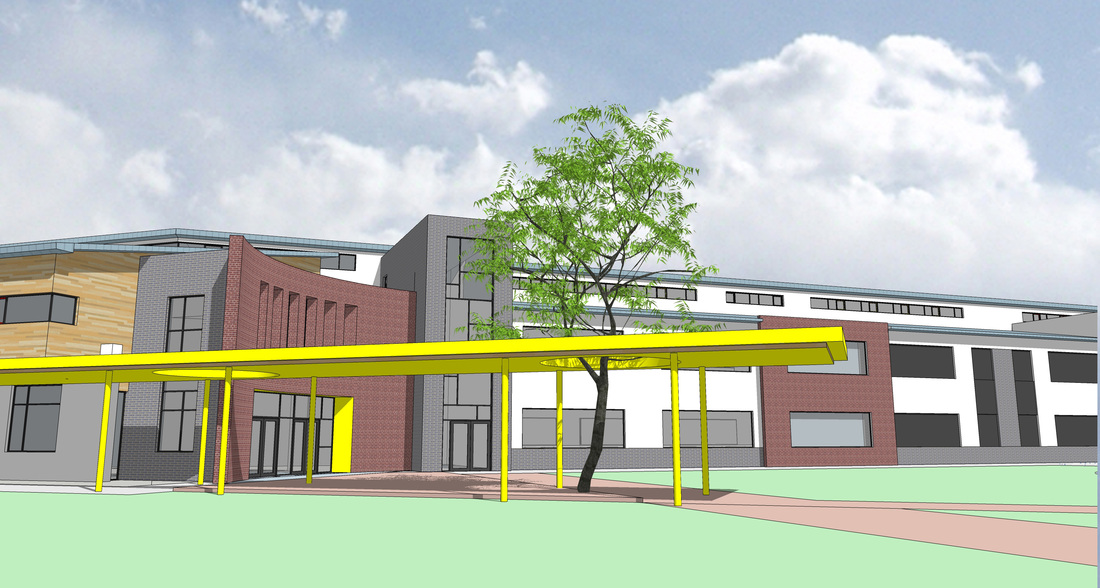 Artist impression of the front of the new school