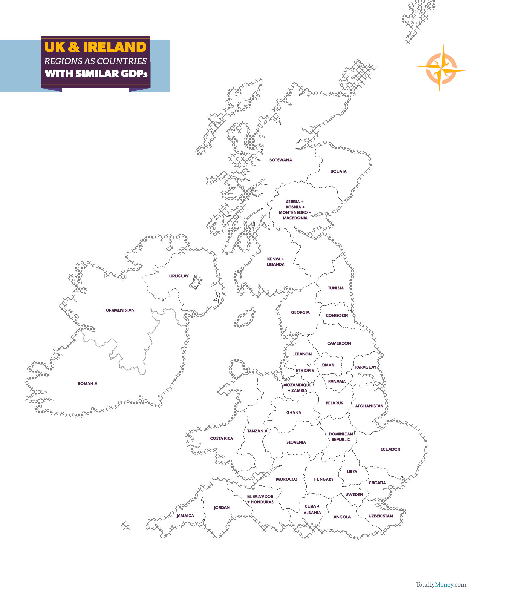 Uk Ireland Gdp Map Totallymoney Com