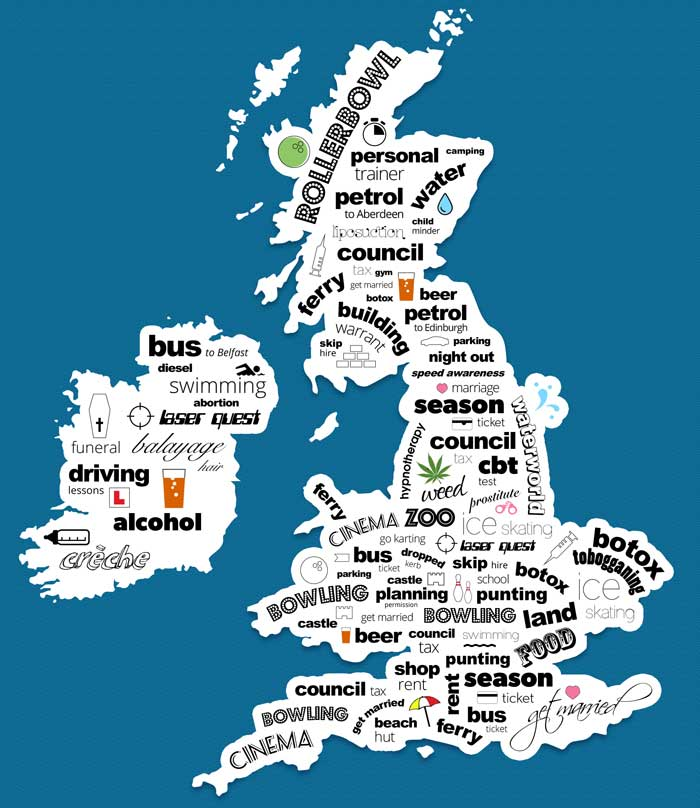 UK cost obsessions map