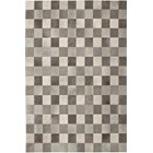 100% Leather Chequered Beige Rug