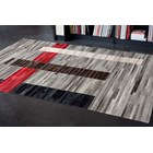 100% Leather Red And Grey Multi Toned Patchwork Rug