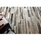 100% Leather Soft Grey Toned Patchwork Rug