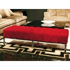 Ailano Italian Chrome Upholstered Button Tufted Bench