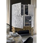 Alexandra Carved Cracked White & Silver Cocktail Cabinet