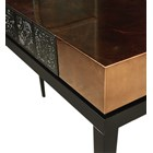 Amber Gold Caviuna Wood, Gold Leaf & Lacquered Console Table