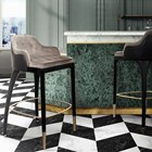Brass, Leather & Velvet Modern Bar Chair
