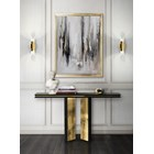 Gold Plated & Black Lacquer Modern Luxury Console Table