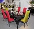 Glossy black with hollow glass silver leaf detail extendable dining table