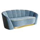 Candy Velvet Sofa with Curved Metal Plinth