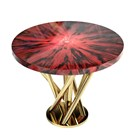 Carmine Radial Ironwood & Gold Plated Brass Round Side Table