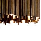 Chamber Gold Plated Brass Rectangular Suspension Lamp