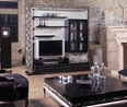 Luxurious Silver Leaf Frame Media Unit With Shelves