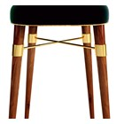 Hamstead Cotton Velvet Upholstered Walnut & Brass Bar Chair