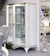 Curved High gloss white and silver leaf carving glass display cabinet