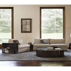 Touched D Curved Canaletto Walnut & Marble Top Coffee Table