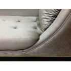 Deep Plush Button Tufted and Polished Brass Chaise Longue