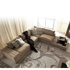Delfina Sectional Sofa With Marble Top Ottoman