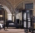Black and white wardrobe with 2 glass doors with a set of drawers