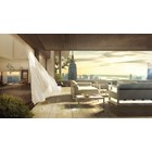 Divine White Fabric Lacquered Aluminium And Brushed Stainless Steel Outdoor Sofa