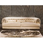 Empire Chrome Upholstered Button Tufted Italian Sofa