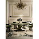 Faceted Dimensional High Gloss Olive and Black Table