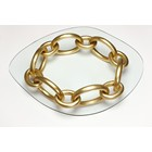 Freedom Link Gold Leaf Glass Top Round Coffee Table
