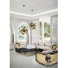 Glass, marble and cast brass oversized coffee table with gold scorpions