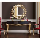 Gold Leafed Round Ornate Florence Mirror