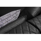 Grey leather and black lacquer angled chaise modern sofa