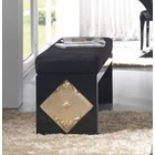 High Gloss Black and Carved Gold Leaf Plush Fabric Bench