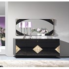 High Gloss Black and Gold Leaf Carved Detailed Sideboard