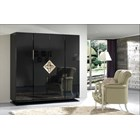 High Gloss Black Lacquer Carved Gold Leaf 4 Door Wardrobe