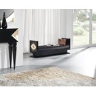 High Gloss Black Lacquer Carved Side Gold Leaf Chaise Longue