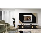 High Gloss Black Lacquer Carved Gold Leaf TV Frame
