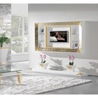 High Gloss White Lacquer Carved Gold Leaf TV Frame With 4 Glass Shelves