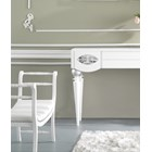High Gloss White Lacquer Scroll Plush Velvet Bench