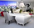 Grand Carved High gloss white desk with silver carving